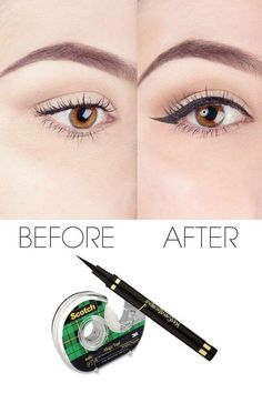 to Use Scotch Tape to Perfect Your Liquid Eyeliner How to use scotch tape to perfect your liquid eyeliner. Get your eyeliner at .How to use scotch tape to perfect your liquid eyeliner. Get your eyeliner at . Eyeliner Hacks, Eyeliner Make-up, How To Apply Eyeliner, Perfect Eyeliner, Mascara, Black Eyeliner, Eyeliner Styles, Metallic Eyeliner, Eyeliner Brands