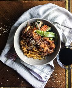 I am not really sure how to classify this recipe. All I wanted to eat was some sesame drenched noodles and Patrick really wanted fried chicken. As long as I add a vegetable it counts as a balanced meal right? Now you need to picture a big bowl of soft udon noodles coated in a …