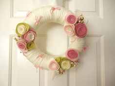 Princess Pink Yarn Wreath  15 Discount  Designer by saffronfields, $64.00