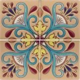 Hand painted raised relief Spanish tile