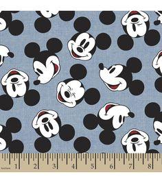 Disney® Mickey Head Toss Chambray Fabric.