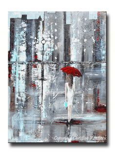 GICLEE PRINT Art Abstract Painting Girl Red Umbrella City Modern Canvas Prints Gift Wall Art Home Decor LARGE sizes to 60 -Christine
