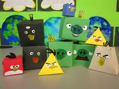 Angry Birds Shapes - trace nets onto construction paper, then measure surface area and volume. Teaching Geometry, Geometry Activities, Teaching Math, Math Activities, Teaching Ideas, Math Classroom, Kindergarten Math, Classroom Ideas, Math 8