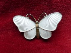 Signed Norway sterling silver white enamel guiloche butterfly brooch Holth Oslo by sandandwill on Etsy