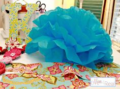 Tissue Paper Flower (Pom) Tutorial & Big Announcement! | Mom 4 Real