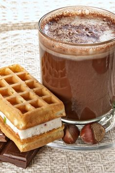 Nutella hot chocolate- but I am pinning this cause I want to remember that waffle for later!