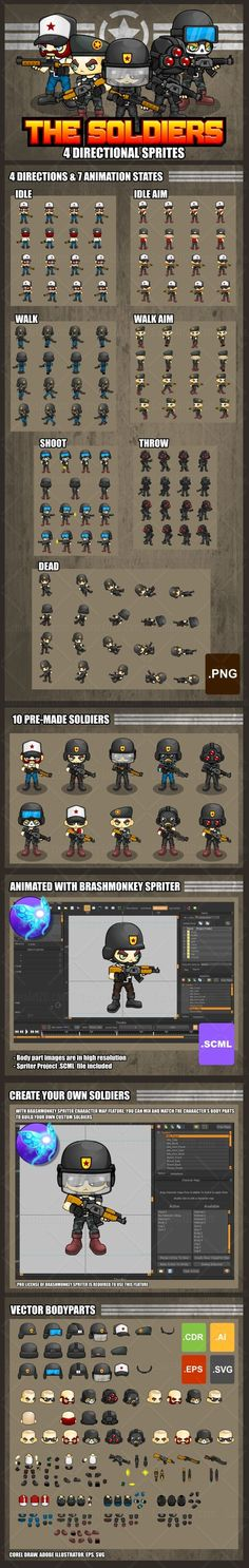 A collection of soldier sprites for creating a 2D top down shooter, tower defense, or other games with military theme. #2d #game #assets #sprite #spritesheet #character #military #soldier #army #shooter