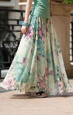 Chiffon Long Elegant Maxi Simple Floral Patterns Skirt