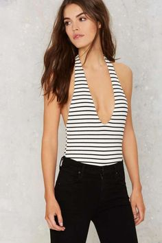 Striped From the Headlines Tank Bodysuit - Clothes