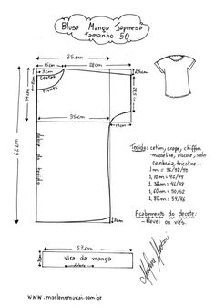 Blusa Manga Japonesa - Violet Tutorial and Ideas Dress Sewing Patterns, Blouse Patterns, Sewing Patterns Free, Clothing Patterns, Free Pattern, Fabric Sewing, Skirt Patterns, Sewing Hacks, Sewing Projects