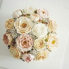 Butter cream flower cake Peony  and  rose :) ♧ Made by MI'TELIER de party. Korea  Www.mitelier.com