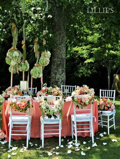 bridal luncheon table setting and centerpiece with hanging flower balls