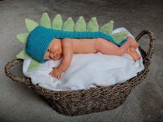 Grandma Swills' Handcrafted Knits: Handmade Newborn Baby Crochet Dinosaur Hat/Photo Prop