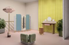 "Celestino created sophisticated furniture pieces for Fendi's first traveling VIP space called ""The Happy Room."""