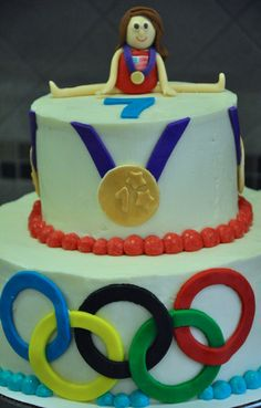 Olympic gymnast cake. Gymnastics Cakes, Gymnastics Party, 4th Birthday Parties, Birthday Cake, Birthday Ideas, Cupcake Cakes, Cupcakes, Cake Designs, Party Ideas