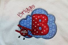 Personalized Terry Cloth Bib for Baby Boys by AppliquesByGranjan, $15.00