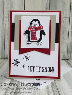 handmade card, christmas card, greeting card, let it snow, penguin, red & black, DIY, demonstrator, paper crafting, hobby, easy, quick, rubber, stamps, stamping, craft, paper, *Stampin' Up, by Amy Frillici, Gathering Inkspiration, order products online at amysuzanne.stampinup.net