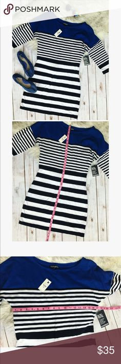 🎀 Express striped dress 🎀 💗 Beautiful Express white and black striped dress with with blue on the top 💝 never worn new with tags in size M, see pictures with measurements 💗 Express Dresses Midi