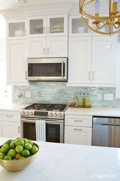 White And Sea Glass Coastal Kitchen Makeover. Oh, How I Love This Glass  Back Splash. So Crisp And Clean!