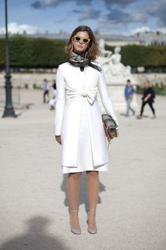 Tweed Dress with Vuitton Clutch - Paris Fashion Week Street Style Spring 2013 - Harper's BAZAAR