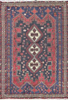 Authentic Persian Afshar Rug in Red.