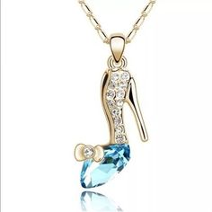 Cinderella blue glass slipper shoe necklace Gold Cinderella blue glass slipper shoe necklace Magic Jewelry Necklaces