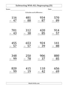 The Large Print Subtracting Numbers with All Regrouping (B) Math Worksheet Basic Math Worksheets, Math Subtraction Worksheets, Number Worksheets, Math Drills, Math Charts, Writing Prompts For Kids, 2nd Grade Math, Grade 2, Second Grade