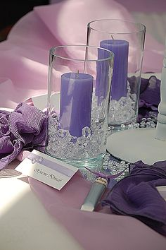 purple and lace candles