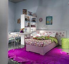 Jugendzimmer gestalten – 100 faszinierende Ideen - jugendzimmer design ideen lila teppich  bett kopfteil  schön