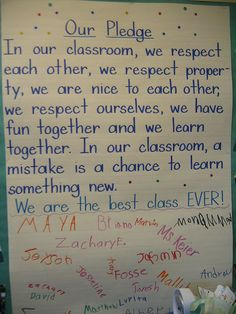 Another nice class pledge Classroom Promise, Classroom Rules, Classroom Behavior, Classroom Community, School Classroom, Classroom Management, Behavior Management, Classroom Ideas, Classroom Mission Statement