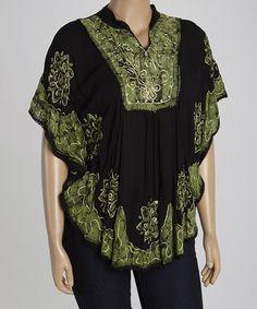 Look at this #zulilyfind! Green & Black Caftan Top - Plus #zulilyfinds