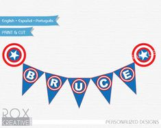 Captain America Banner Flag Captain America Printable Banner