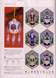 Xmas bead weaving - use these as petit point patterns for Christmas stockings Beaded Christmas Decorations, Christmas Ornament Crafts, Christmas Jewelry, Holiday Ornaments, Seed Bead Patterns, Peyote Patterns, Beading Patterns, Beaded Ornament Covers, Beaded Ornaments