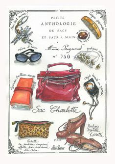 Miss Lecroc is commissioned to draw and paint the contents of people's handbags.