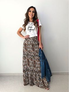 Work Fashion, Asian Fashion, Fashion Outfits, Womens Fashion, Maxi Skirt Outfits, Dress Skirt, Maxi Skirts, Animal Print Outfits, Floral Maxi