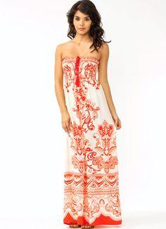 strapless printed maxi dress