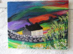 textile art, fiber art, felt art, wet felted, abstract fields, 20 x 16 inches