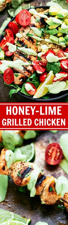Grilled Honey-Lime Chicken over Cilantro-Lime Quinoa