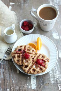 Whole Wheat Raspberry Leige Waffles with Lemon Syrup | www.happyfoodhealthylife.com