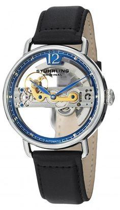 Stuhrling Original 465.33156 Symphony Aristocrat Bridge Blue Automatic Skeleton Watch For Men