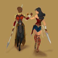 Okoye and Wonder Woman by Jaja Pica #okoye #doramilaje #wakanda #BlackPanther #wonderwoman #amazonprincess #amazingamazon #love #wisdom #truth