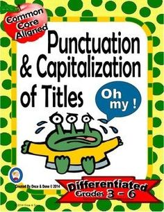Punctuating Titles Center Activity for small groups or independent literacy station work during guided reading. Students practice the rules of capitalization as well as when to underline and when to use quotation marks by rewriting titles. There are 12 ti