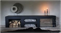 Maatwerk / stoer tv meube / PURE BLACK 2.0 Tv Furniture, Inspired Homes, Entryway Tables, Sweet Home, New Homes, Home And Garden, Cabinet, Living Room, Interior Design