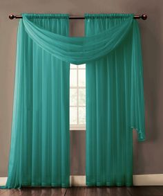 Warm Home Designs Pair of Teal Voile Sheer Curtains or Valance Scarf