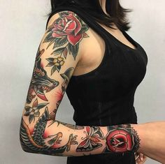 full sleeve traditional tattoo ** but I want mine with purple and blue accents #TraditionalTattoos