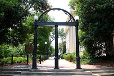 UGA Arch - the most prominent symbol of the University of Georgia, modeled after the Georgia state seal in which the 3 columns of the arch represent wisdom, justice, and moderation. Georgia Hail To Thee! University Of Georgia Athens, Athens Georgia, Yandex, Psychology Department, Georgia On My Mind, Sense Of Place, Athens, Gardens