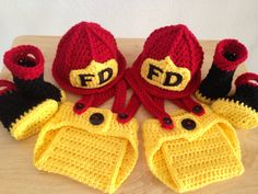 FREE SHIPPING Twin Baby Firefighter Fireman Hats, 8 pc Diaper Cover Set w/Suspenders & Boots on Etsy, $130.00