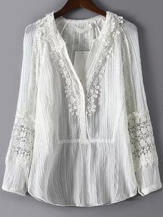 White V Neck Lace Pleated Chiffon Blouse -SheIn 2019 White V Neck Lace Pleated Chiffon Blouse -SheIn The post White V Neck Lace Pleated Chiffon Blouse -SheIn 2019 appeared first on Chiffon Diy. Casual Dresses, Fashion Dresses, White Boho Dress, Fashion Line, Geek Fashion, Linens And Lace, White V Necks, Long Blouse, Lace Tops