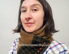 Neckwarmer, Neck Warmer, Scarf, Upcycled Clothing, Eco, Tan Corduroy with Teal and Orange Plaid Fabric with Vintage Brown Buttons  Christina Robinson Neck Warmers  www.FashionCogs.Etsy.com  www.ChristinaZimmerRobinson.com