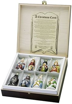 Item Sku: 1-009-07 A Christmas Carol Ornament Set Handcrafted in Germany by Inge Glas. The set includes Scrooge, Bob Cratchit, Mrs. Cratchit, Tiny Tim,